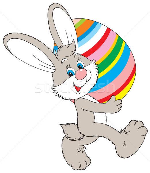 Húsvéti nyuszi vektor clipart színes tojás gyerekek állat Stock fotó © AlexBannykh
