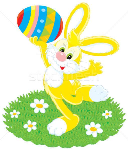 Húsvéti nyuszi színes tojás vektor clipart tart színes Stock fotó © AlexBannykh