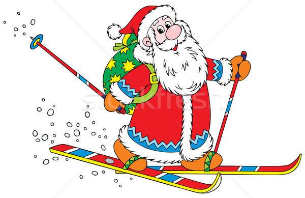 Mikulás síelő mikulás síel táska karácsony Stock fotó © AlexBannykh