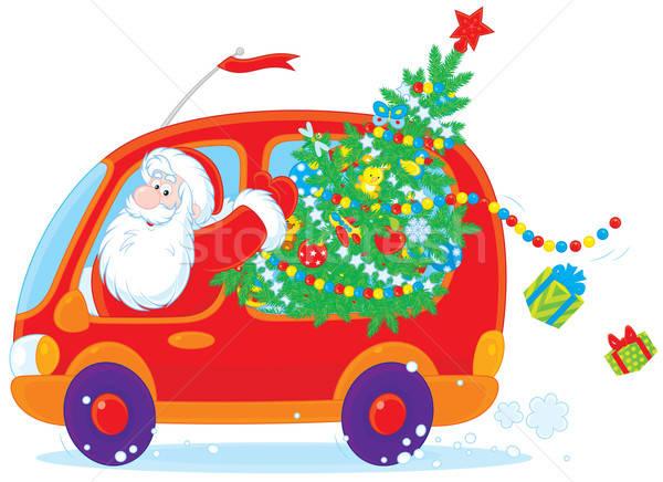 Mikulás karácsonyfa mikulás ajándékok piros autó Stock fotó © AlexBannykh
