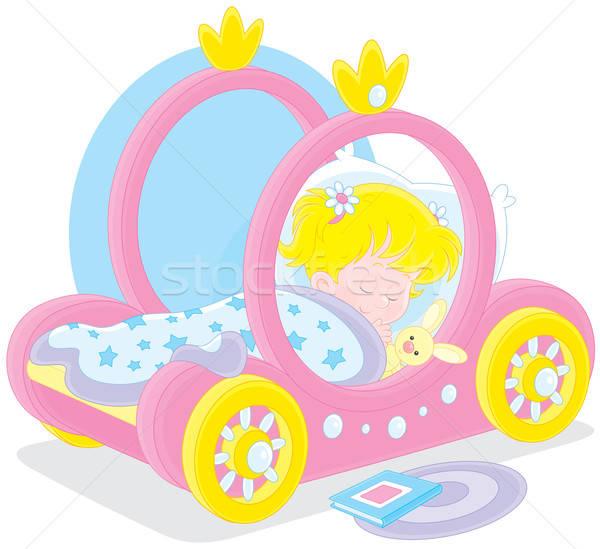 Lány alszik kislány ágy fuvar hercegnő Stock fotó © AlexBannykh