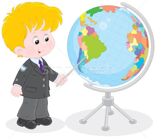 Schoolboy and globe Stock photo © AlexBannykh