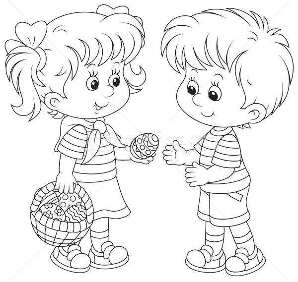 Little girl and boy on Easter Day Stock photo © AlexBannykh