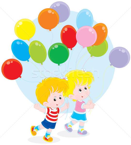 Copii Baloane Fetita Băiat Mers Colorat