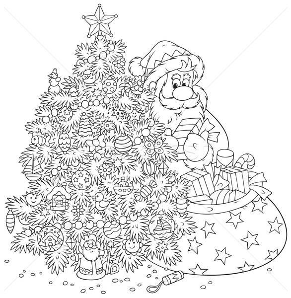Noel Baba Noel Agaci Hediyeler Dekore Edilmis Vektor