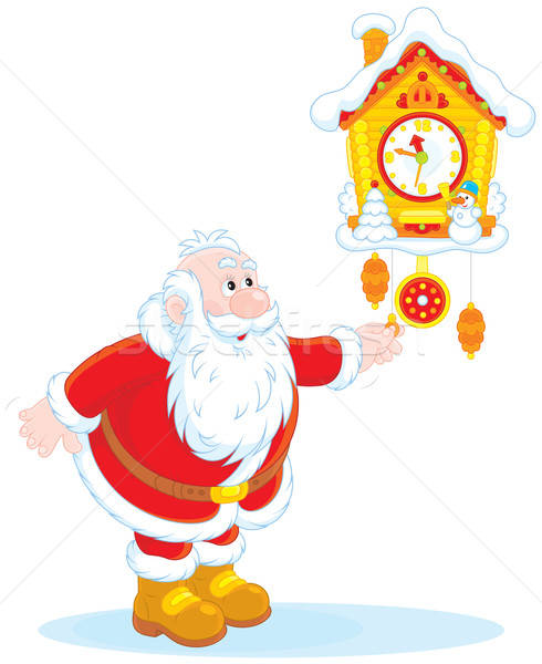 Santa Claus winds a cuckoo-clock Stock photo © AlexBannykh