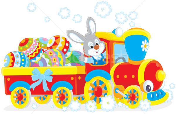 Сток-фото: Пасхальный · заяц · поезд · мало · кролик · игрушку