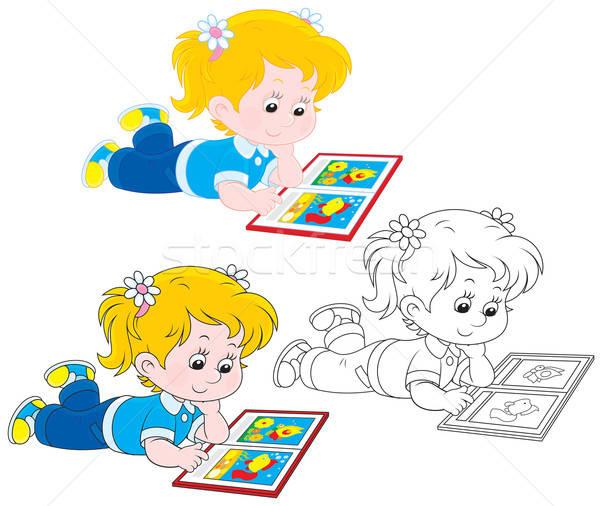 Meisje lezing meisje boek kleurrijk illustraties Stockfoto © AlexBannykh