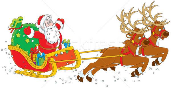 Sanie Święty mikołaj ojciec christmas duży worek Zdjęcia stock © AlexBannykh