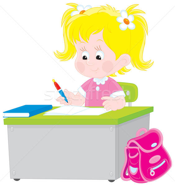Stock photo: Schoolgirl writing a test in school