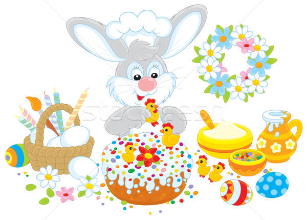 Easter bunny decorates a fancy cake Stock photo © AlexBannykh