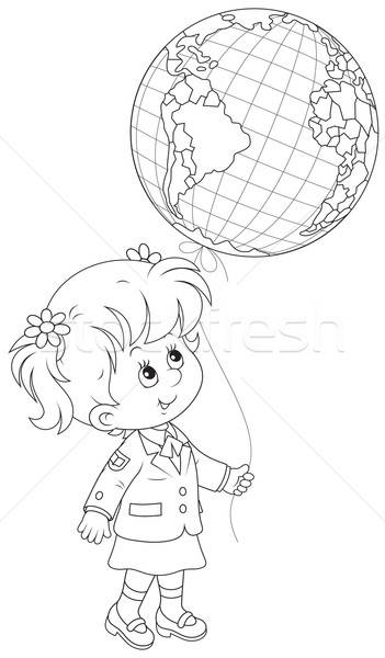 Schoolgirl holds a globe - balloon Stock photo © AlexBannykh
