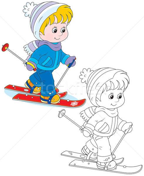 Child skiing Stock photo © AlexBannykh