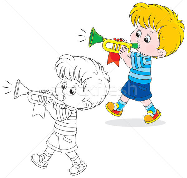 Kicsi fiú fúj kicsi színes trombita Stock fotó © AlexBannykh