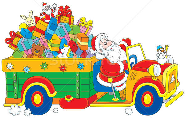 Santa with Christmas gifts Stock photo © AlexBannykh