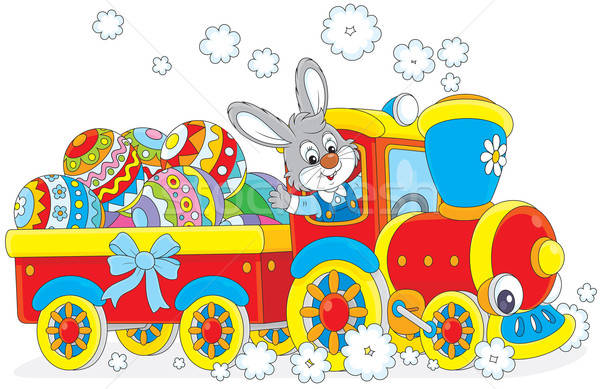 Easter Bunny on a train Stock photo © AlexBannykh
