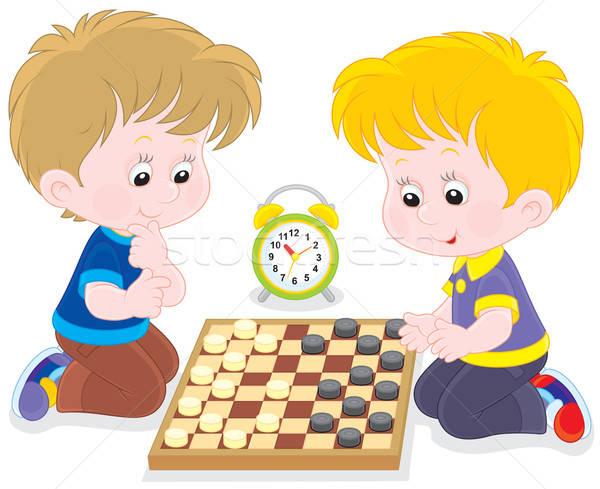 Children play checkers Stock photo © AlexBannykh
