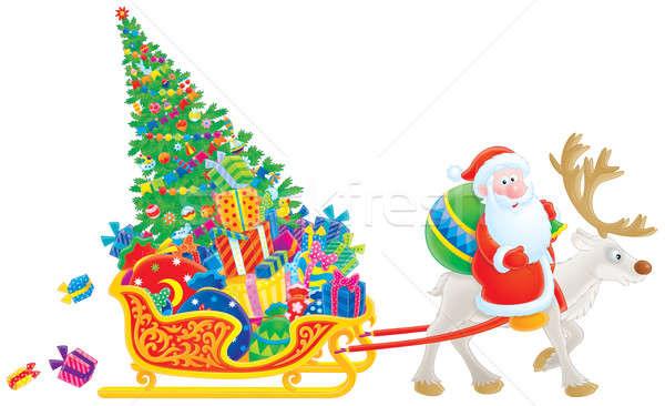 Santa rides on Reindeer Stock photo © AlexBannykh