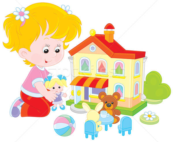 Girl with a doll and toy house Stock photo © AlexBannykh