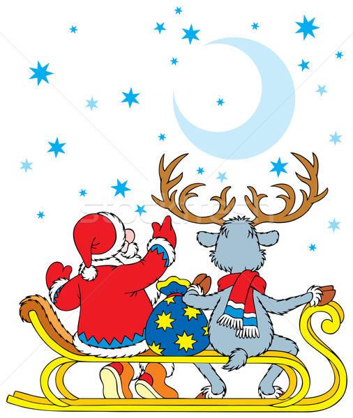 Santa Claus and Reindeer Stock photo © AlexBannykh