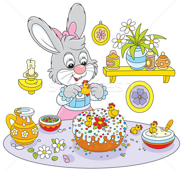 Bunny cooks a holiday cake to Easter Stock photo © AlexBannykh