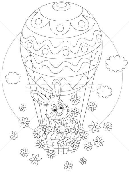 Easter Bunny flying in a balloon Stock photo © AlexBannykh