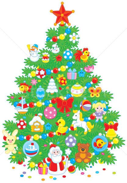 Kerstboom groene ingericht kleurrijk speelgoed Stockfoto © AlexBannykh