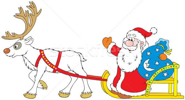 Дед Мороз вождения сани северный олень сумку Сток-фото © AlexBannykh