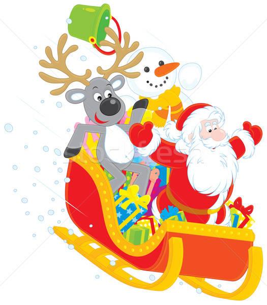 Santa, Reindeer and Snowman Stock photo © AlexBannykh