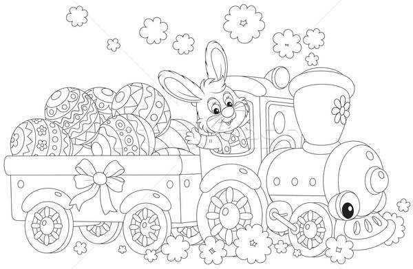 Bunny ester eieren trein Pasen konijn Stockfoto © AlexBannykh