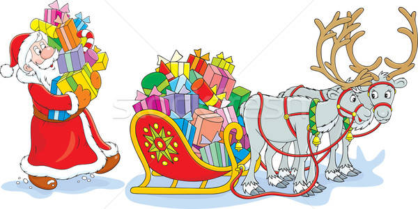 Santa loads Christmas gifts Stock photo © AlexBannykh
