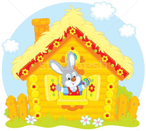 Húsvéti nyuszi kicsi nyúl néz ki ablak Stock fotó © AlexBannykh