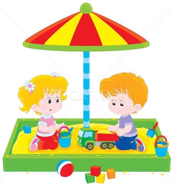 Gyerekek játék kislány fiú játszik játszótér Stock fotó © AlexBannykh