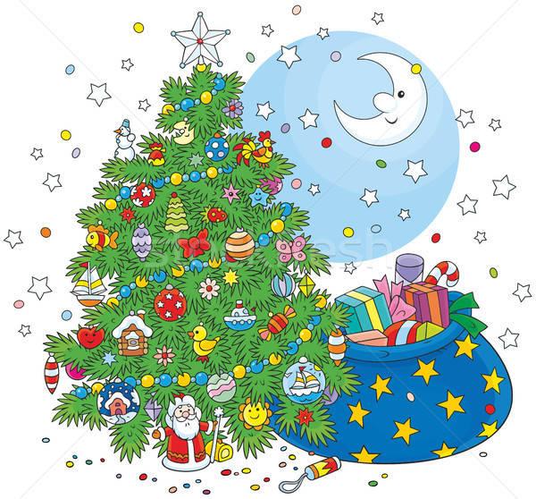 Choinka prezenty noc christmas odznaczony jodła Zdjęcia stock © AlexBannykh