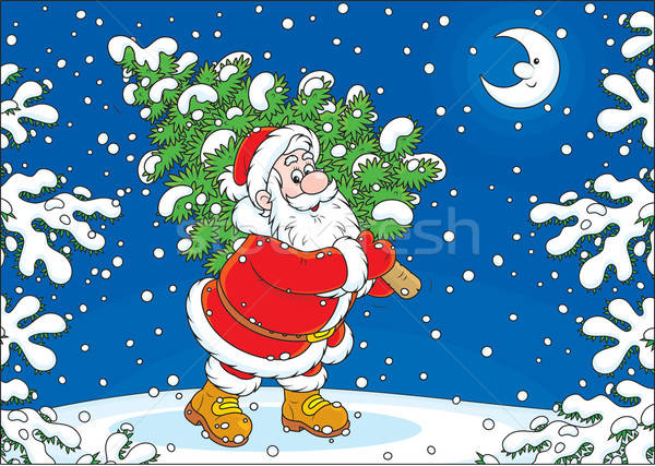 Santa with a Christmas tree Stock photo © AlexBannykh
