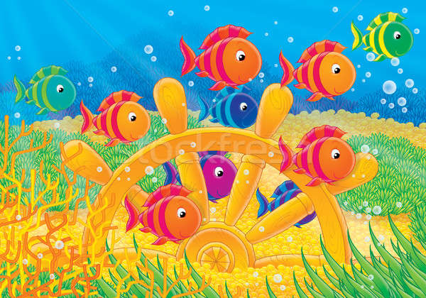 Coral fishes and steering wheel Stock photo © AlexBannykh