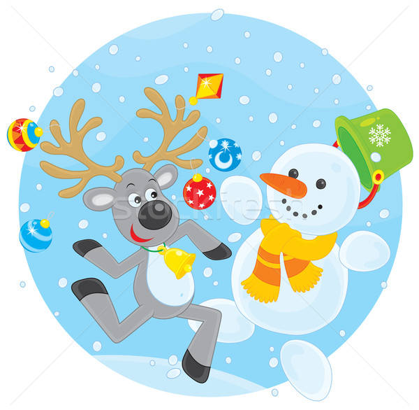 Reindeer and Snowman dancing Stock photo © AlexBannykh