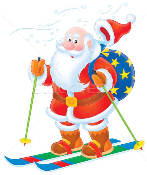 Santa Claus skiing Stock photo © AlexBannykh