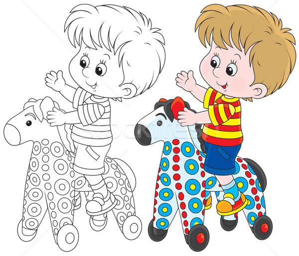 Сток-фото: мало · мальчика · верховая · езда · красочный · игрушку · лошади