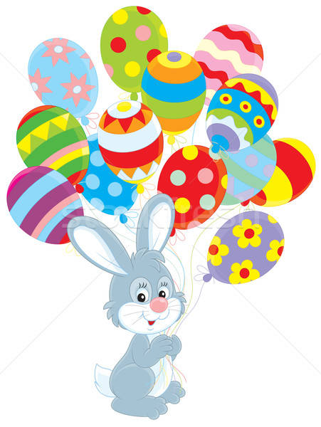 Easter Bunny with balloons Stock photo © AlexBannykh