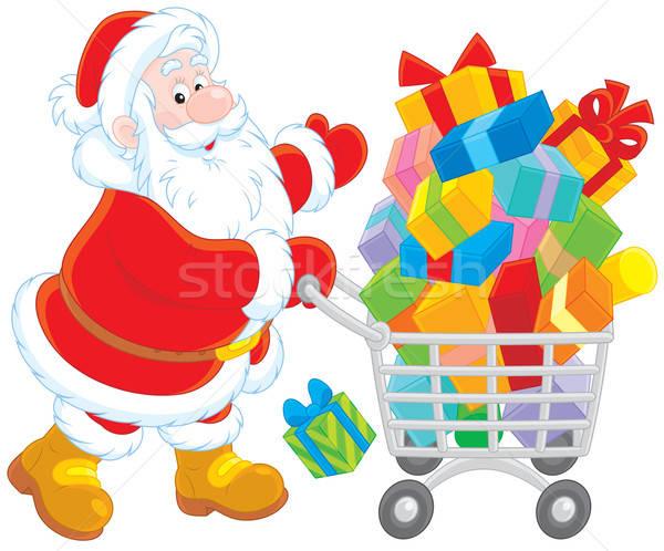 Santa with a shopping cart Stock photo © AlexBannykh