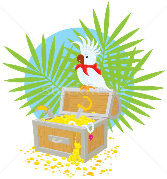 Stock photo: Pirate Parrot and treasure chest
