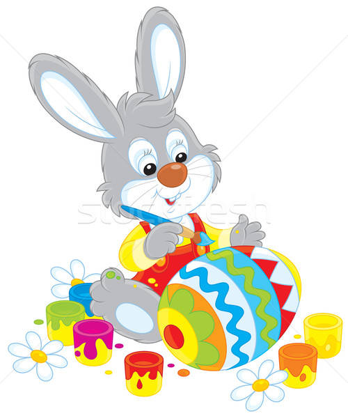 Nyuszi húsvéti tojás kicsi nyúl nagy játék Stock fotó © AlexBannykh