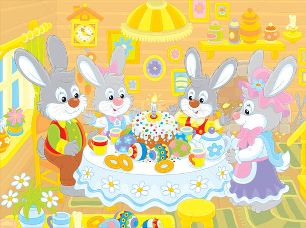 Easter bunnies at the festive table Stock photo © AlexBannykh