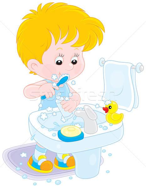 Dziecko mały chłopca czyszczenia zęby Zdjęcia stock © AlexBannykh