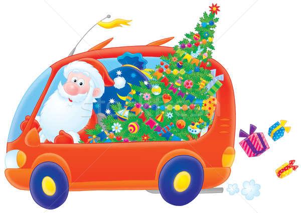 Clipart illustratie Rood auto christmas Stockfoto © AlexBannykh