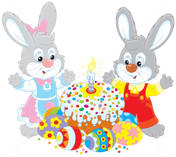 Easter cake and painted eggs Stock photo © AlexBannykh