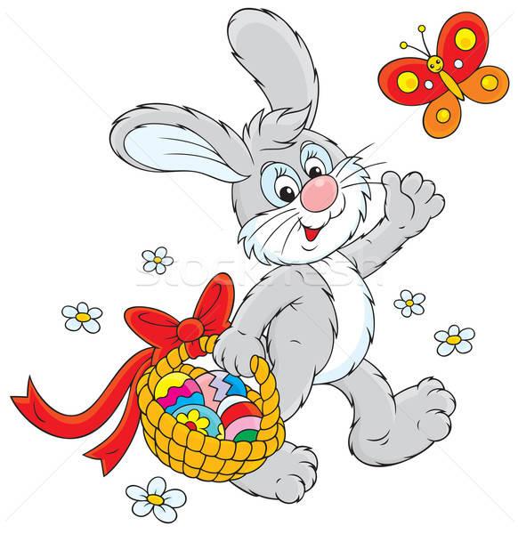Easter bunny koszyka jaj królik spaceru kolorowy Zdjęcia stock © AlexBannykh