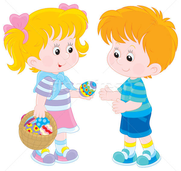 Girl and boy on Easter Day Stock photo © AlexBannykh