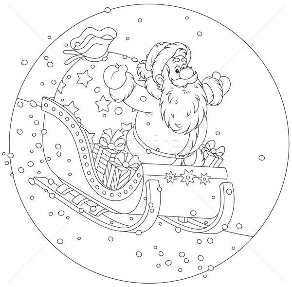 Santa Claus sledding with gifts Stock photo © AlexBannykh